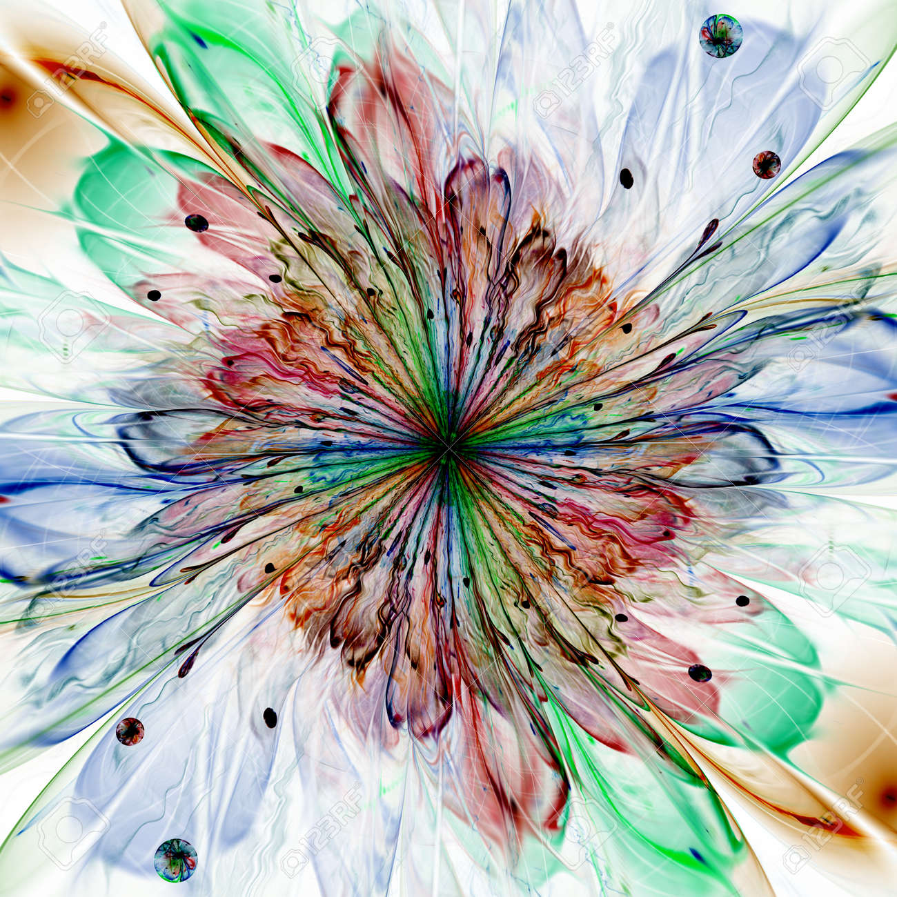 Abstract High Resolution Wallpaper With A Detailed Modern Exotic Looking Shining Flower In The Center And