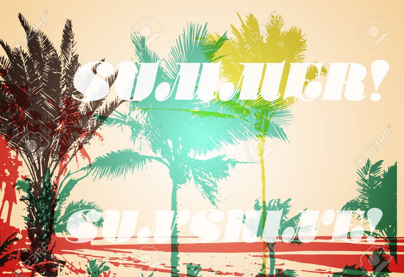 Colorful Background With Silhouette Of Palm Trees On The Beach ...