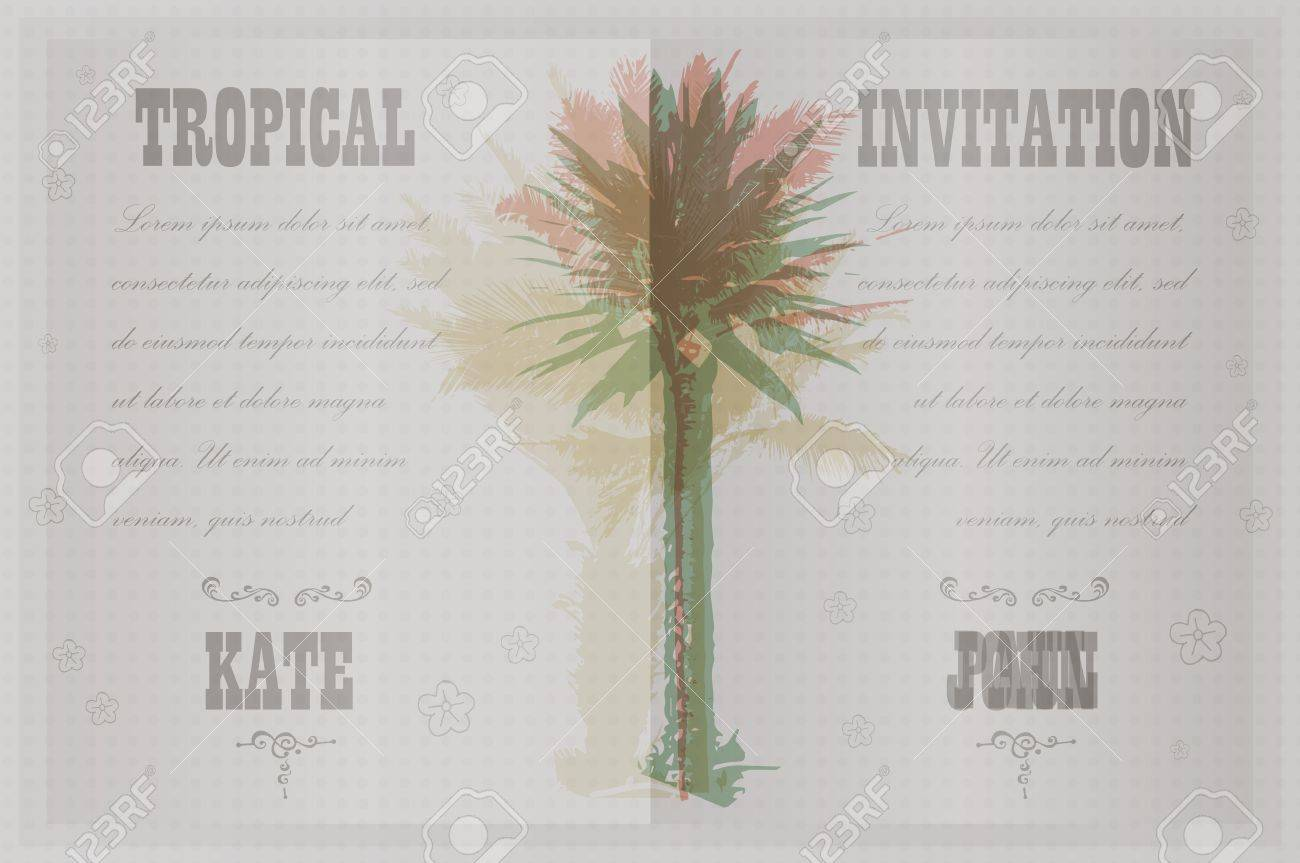 Tropical Invitation Template For Wedding, Engagement And Other ...