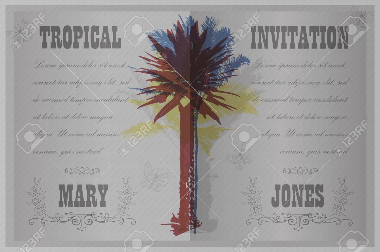 Tropical Invitation Template For Wedding Engagement And Other