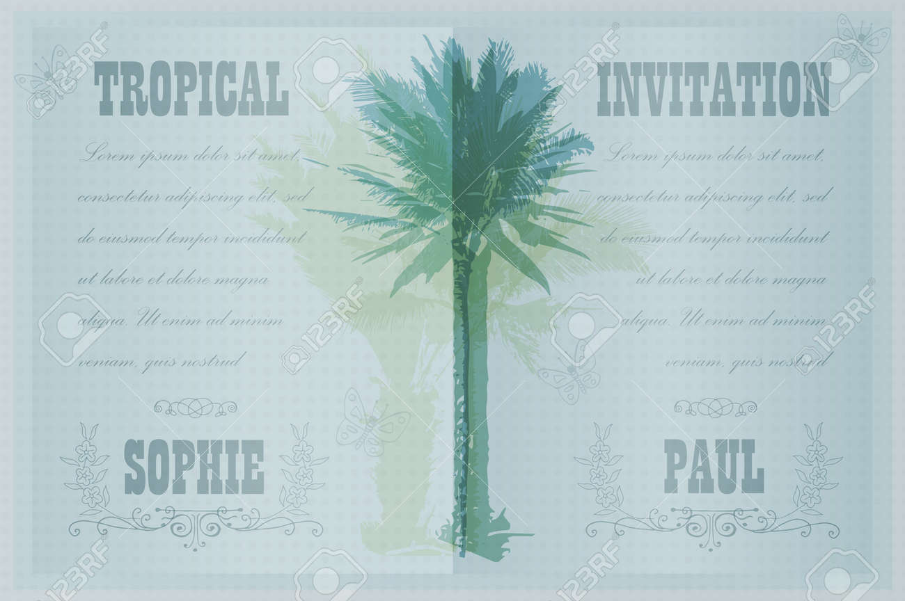 tropical invitation template for wedding engagement and other events colorful background with silhouette of
