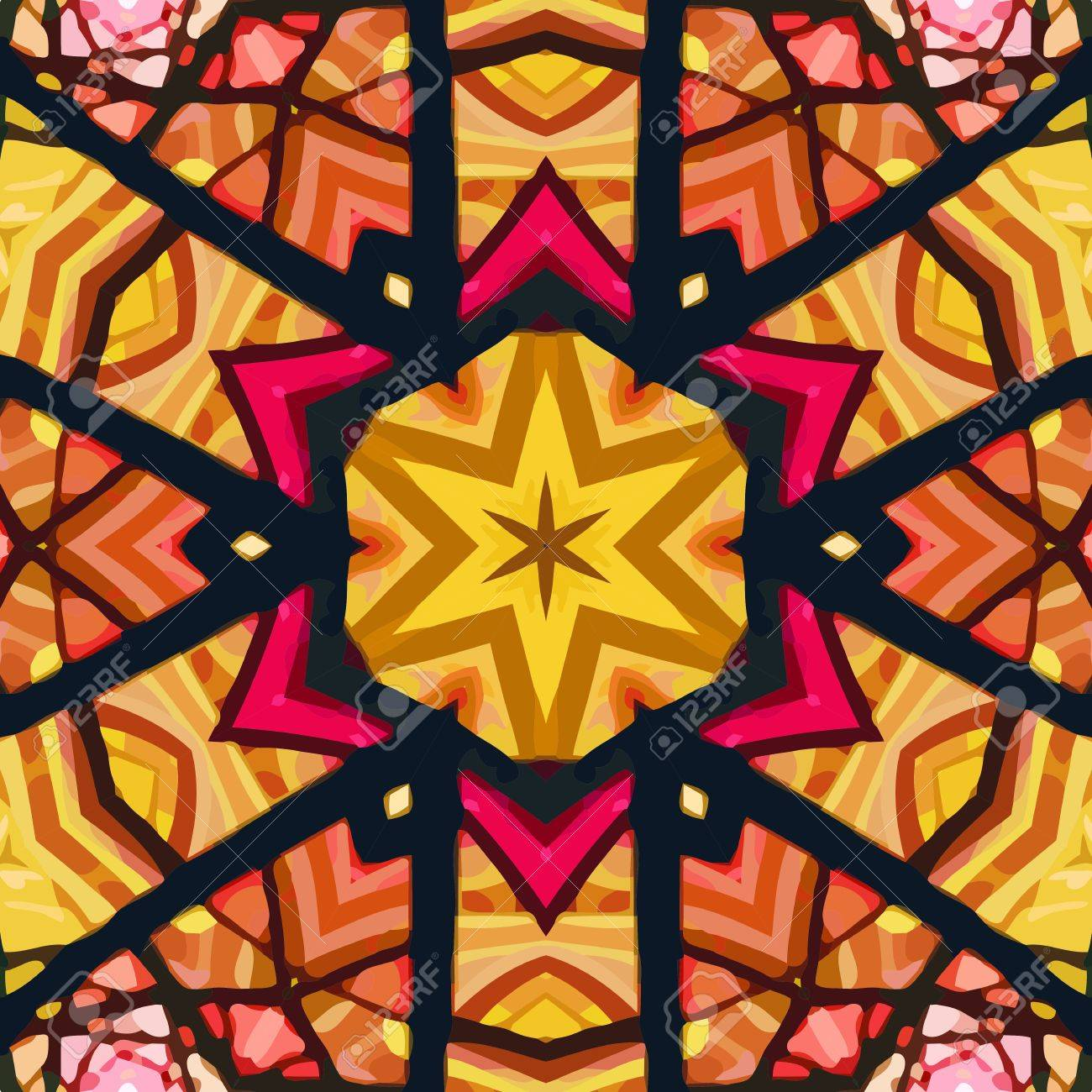 Stained Glass Pattern Seamless Symmetrical Background Template