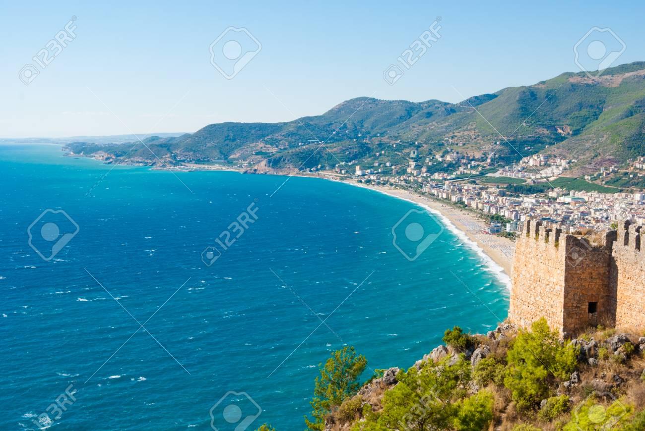 Fantastisch Burg Von Alanya Und Kleopatra Strand, Antalya, Türkei Lizenzfreie  DT98
