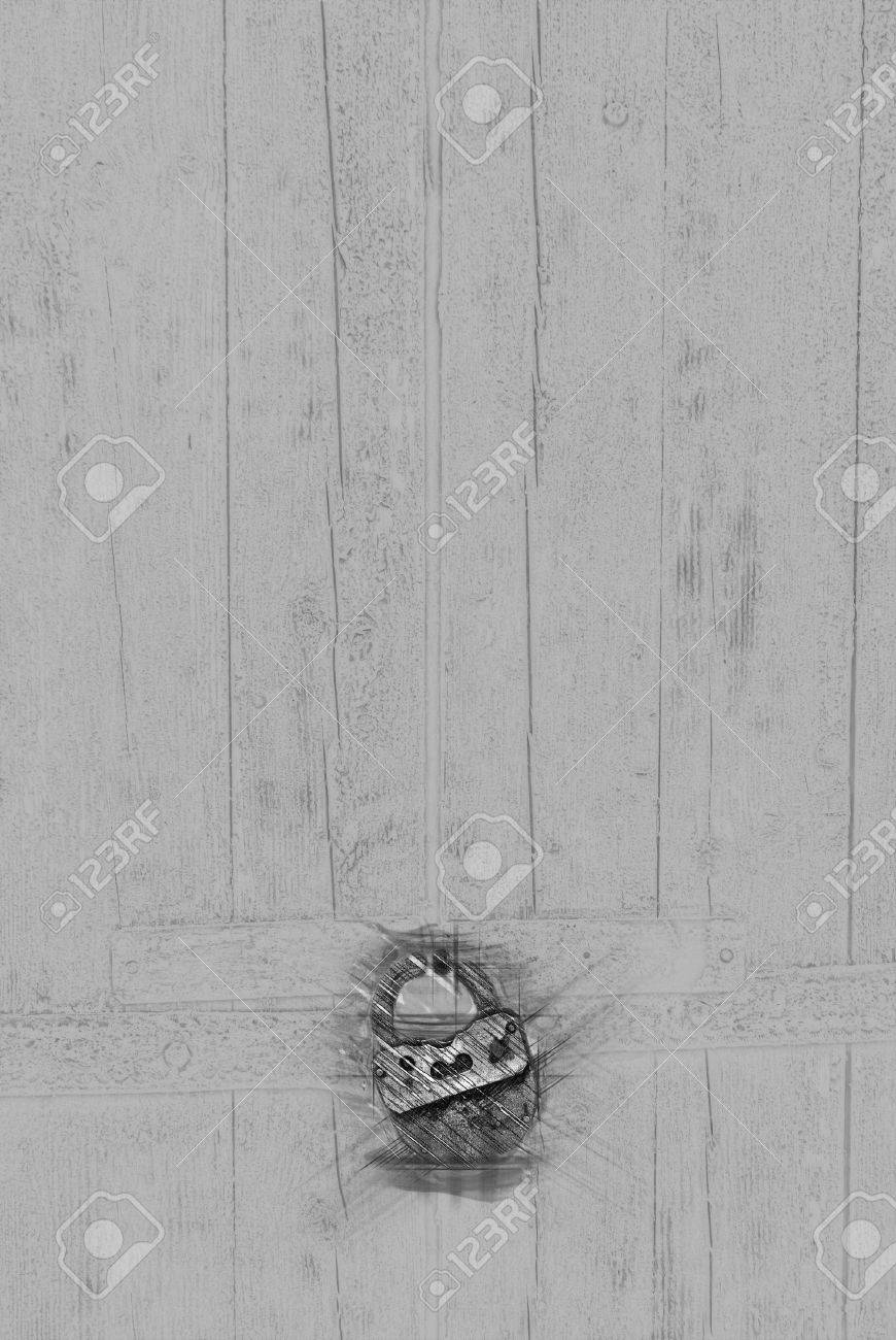 Door pencil drawing - Old Wooden Door With Big Lock Painting Of Travel Scene Pencil Drawing Outlines Of