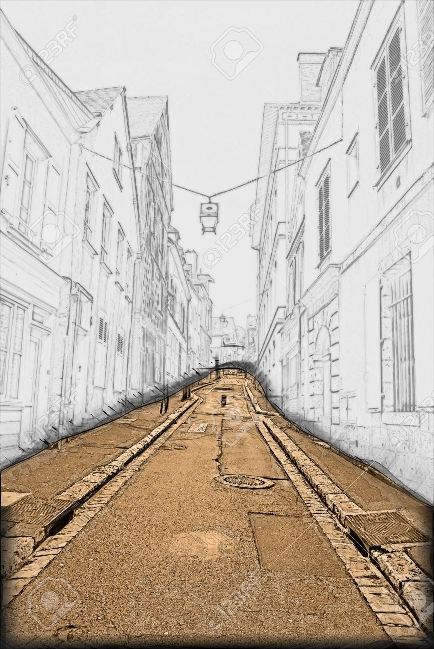 Empty Ascending Street In Old European Town. Painting Of Travel ...