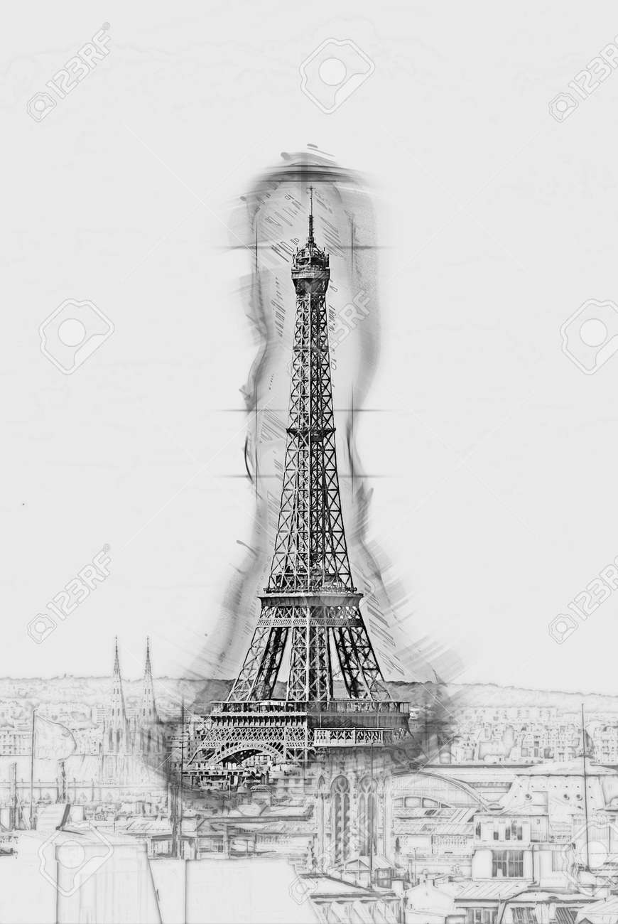 Eiffel tower in the cityscape of paris painting of travel scene pencil drawing outlines