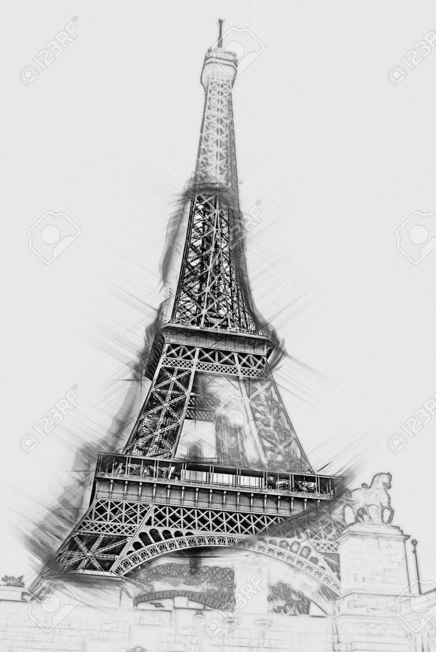 Eiffel tower view from seine painting of travel scene pencil drawing outlines of background