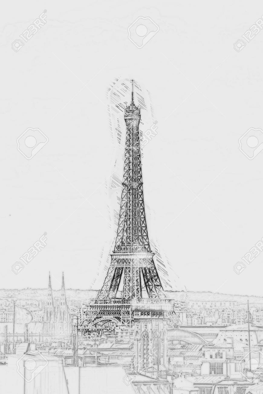Eiffel tower in the cityscape of paris pencil drawing outlines of background stock photo