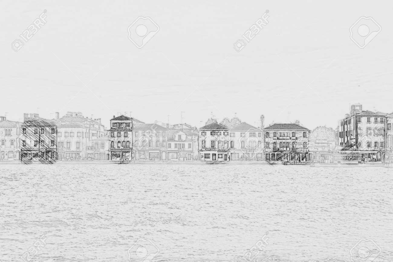 Panoramic view of giudecca island venice italy painting of