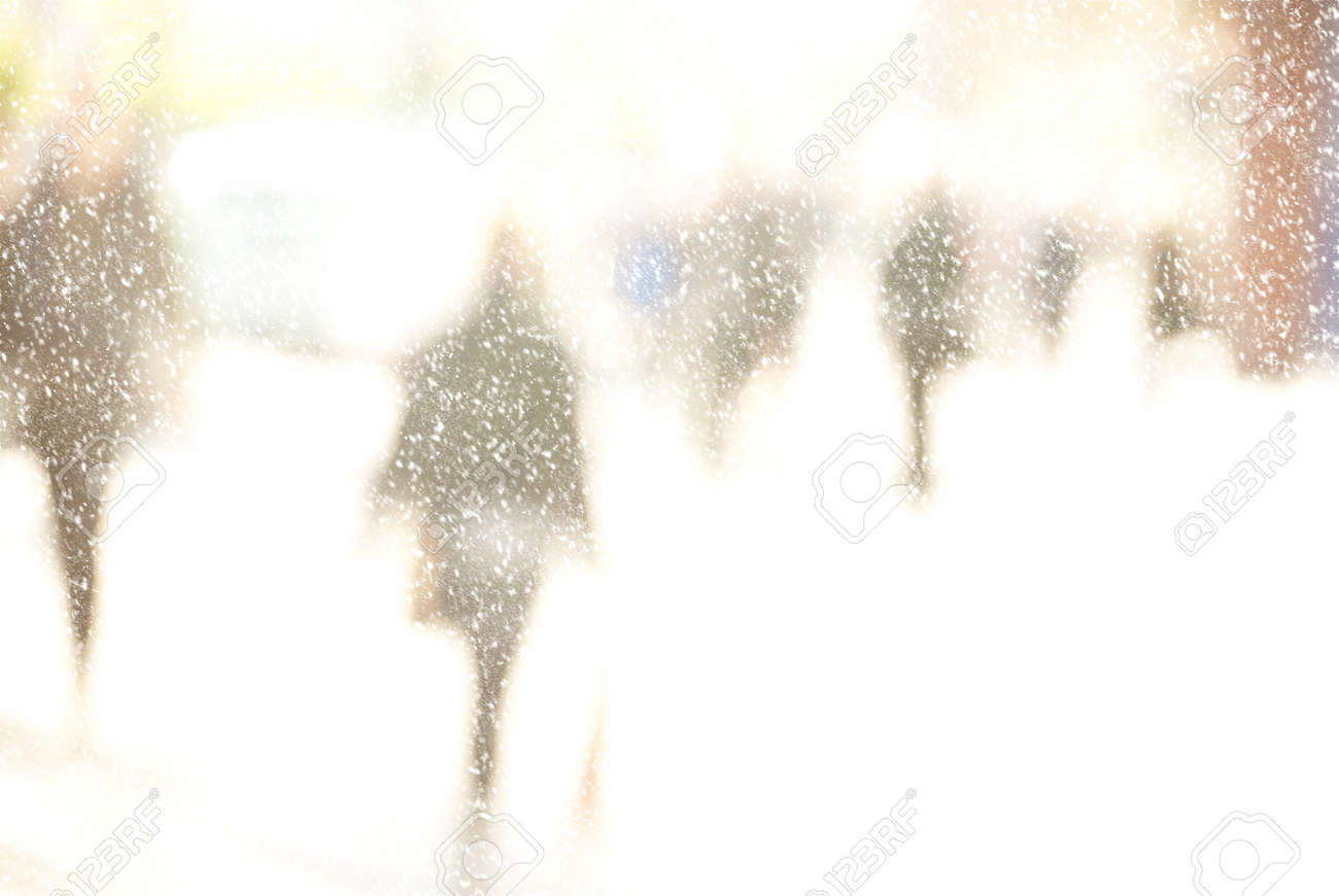 Winter City Commuters With Snow. Blurred Image Of Workers Going ...