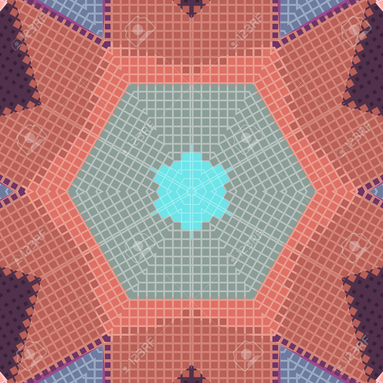 Flat Ethnic Seamless Pattern. Colorful Geometrical Ornament Tiles ...