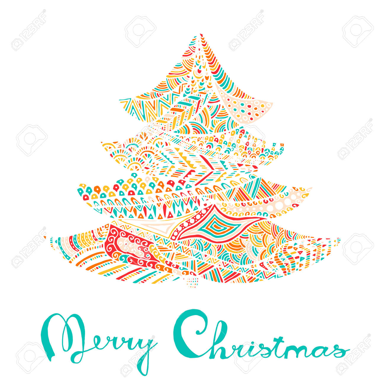 happy new year and merry christmas card colored christmas tree