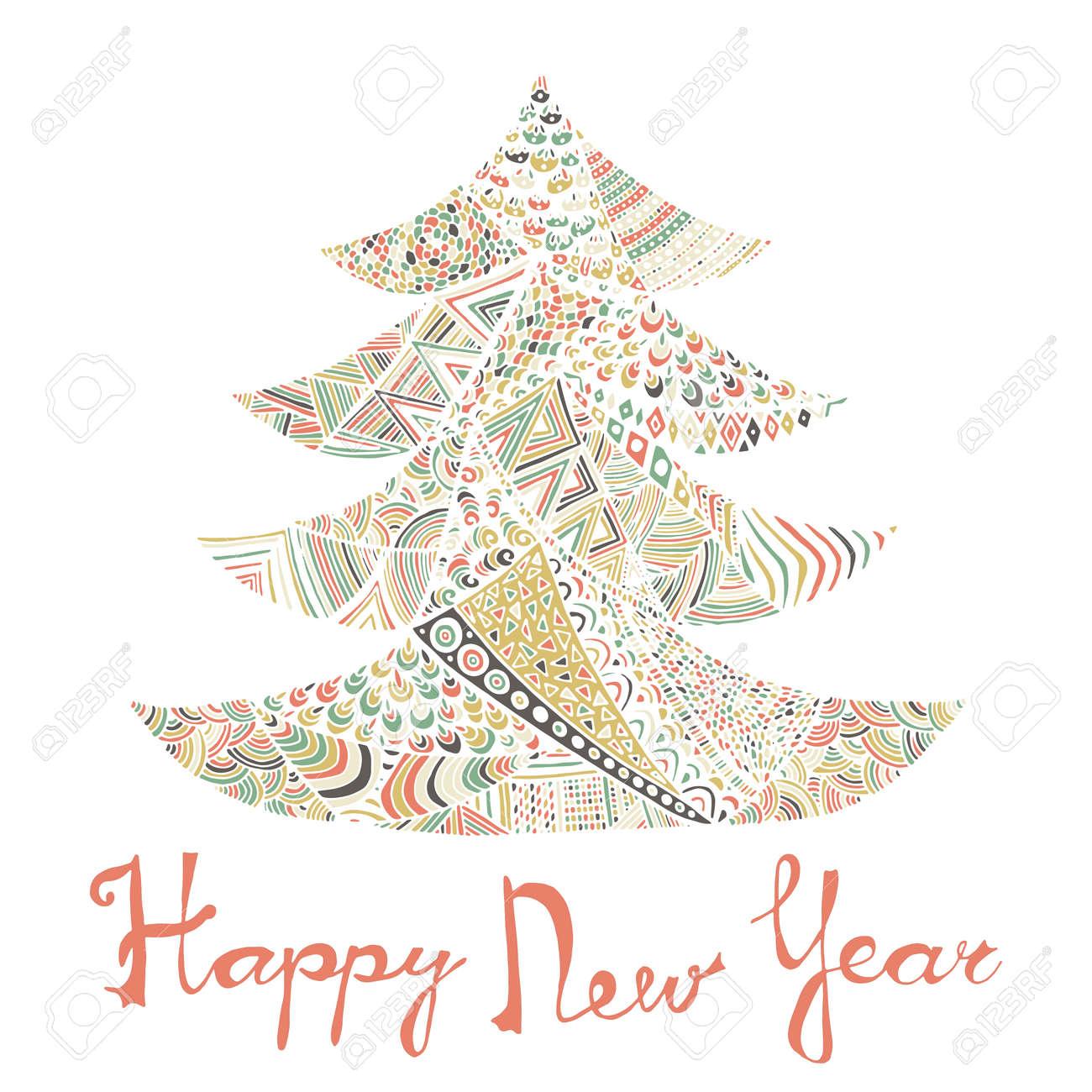 Vettoriale Felice Anno Nuovo E Buon Natale Card Albero Di Natale