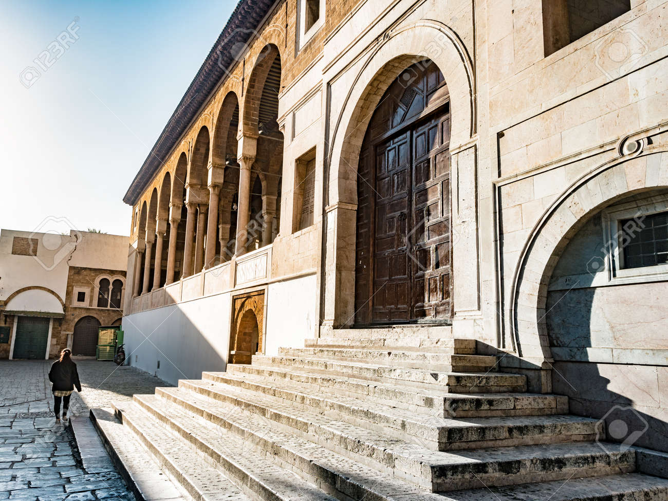 Al Zaytuna Mosque In Tunis Tunisia Main Entrance With Stairs Stock Photo Picture And Royalty Free Image Image 120243992