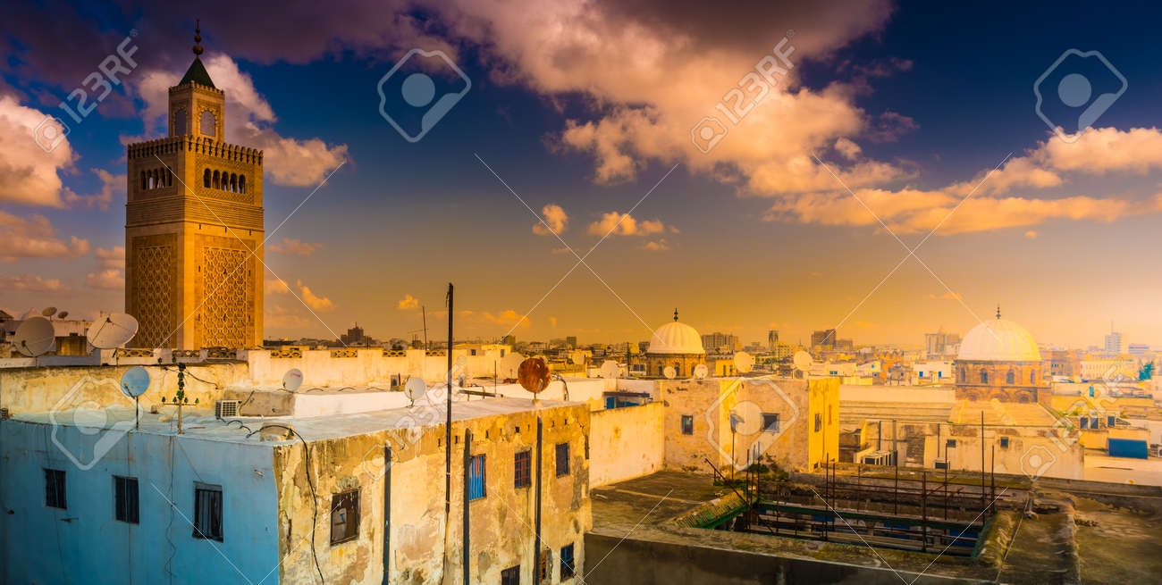 View Of The Al Zaytuna Mosque And The Skyline Of Tunis At Dawn Stock Photo Picture And Royalty Free Image Image 120243201