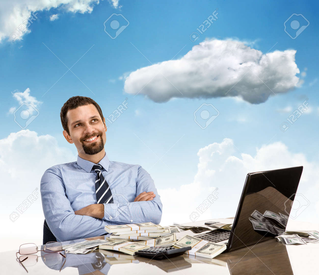 Daydreaming Businessman With Arms Crossed Cheerful And Successful