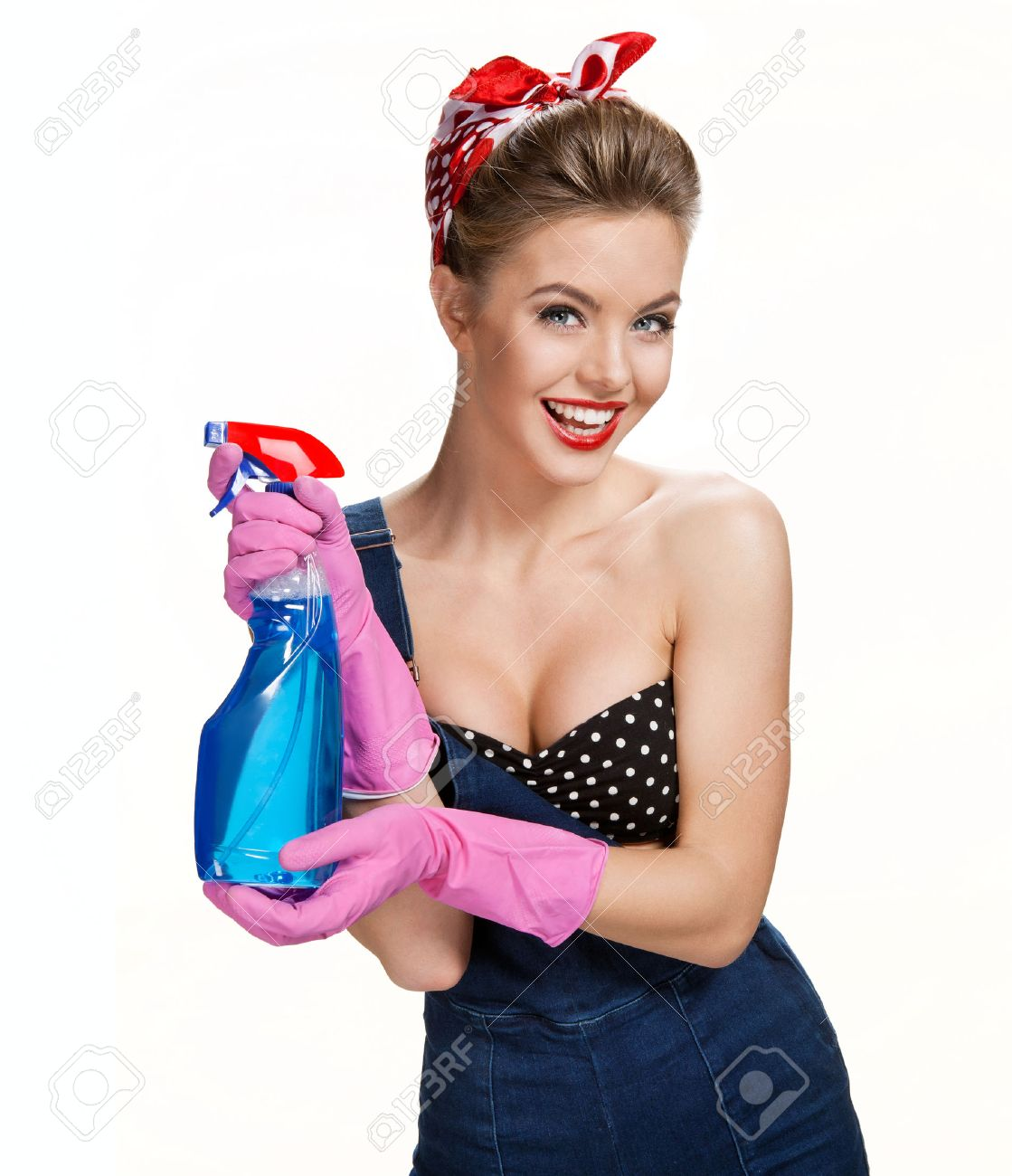 White gloves apron cleaning services - Sexy Maid Cleaning Lady Wearing Pink Rubber Protective Gloves Holding Spray Bottle Young Beautiful American