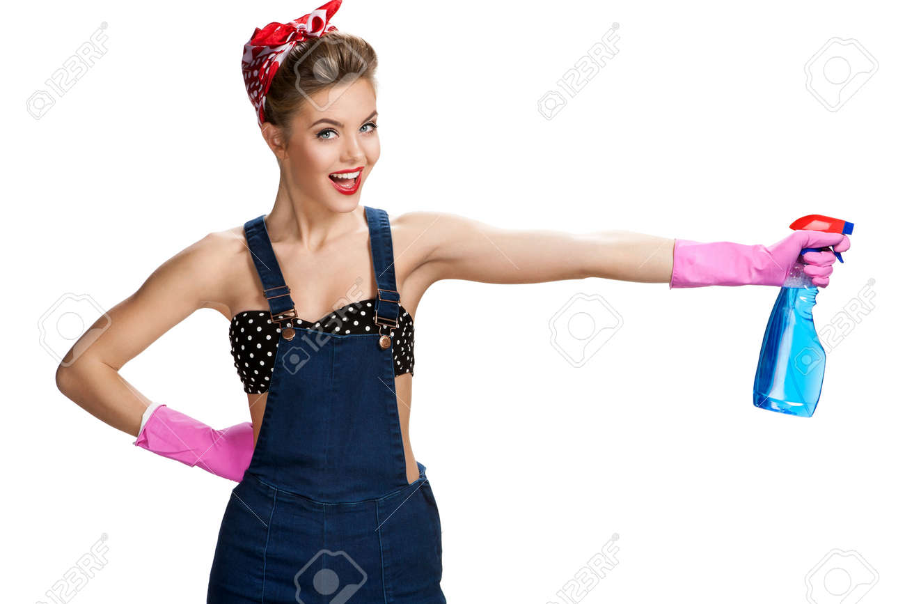 White gloves apron cleaning services - Swabber Pretty Cleaning Lady Wearing Pink Rubber Protective Gloves Holding Spray Young Beautiful American Pin