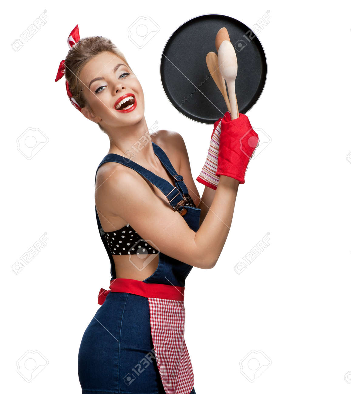 White gloves apron cleaning services - Attractive Housewife Wearing Apron With Kitchen Utensils Young Beautiful American Pin Up Girl Isolated
