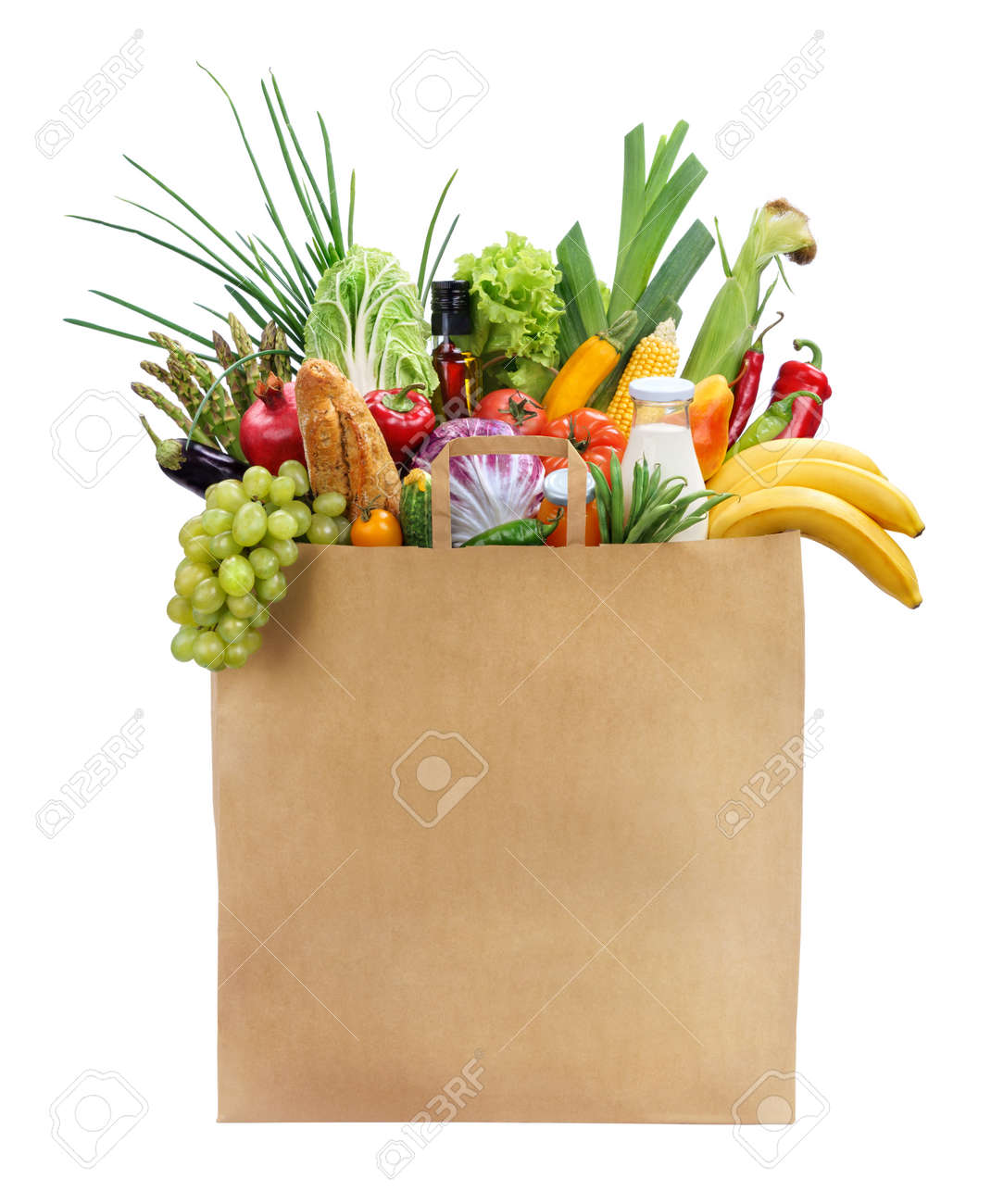best foods for women studio photography of brown grocery bag stock