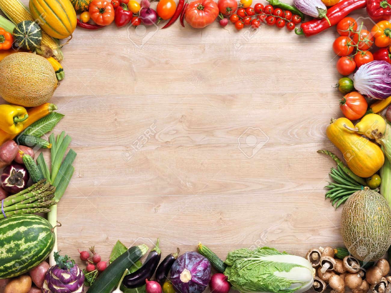 Healthy eating background, studio photography of different fruits and vegetables on wooden table - 52848964