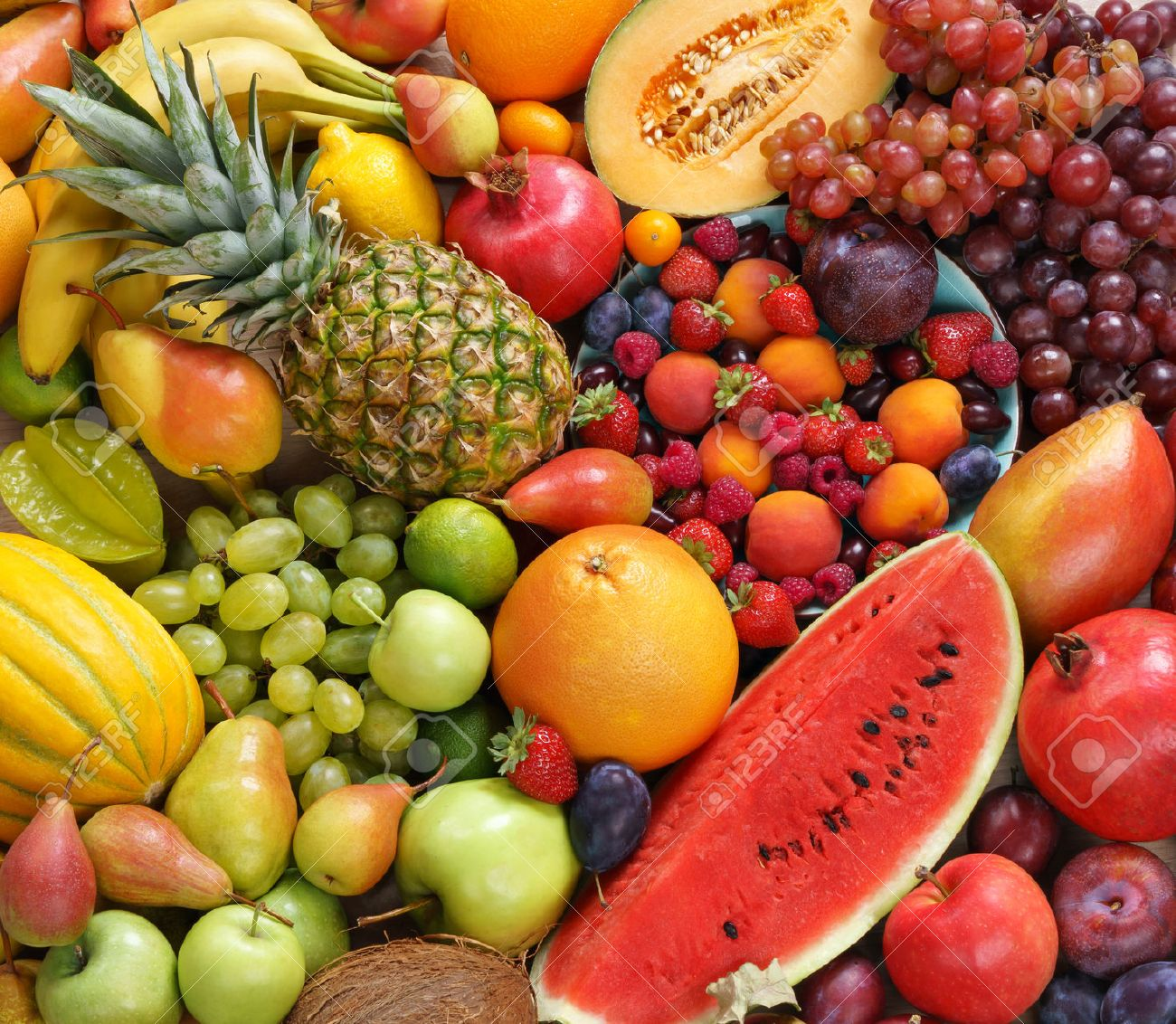 Superfood background. Only Fruit, food photography of ripe fruits at the market - 52848969