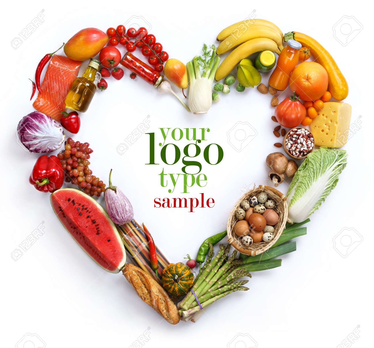 Heart symbol, studio photography of heart made from different fruits and vegetables - on white background - 52848974