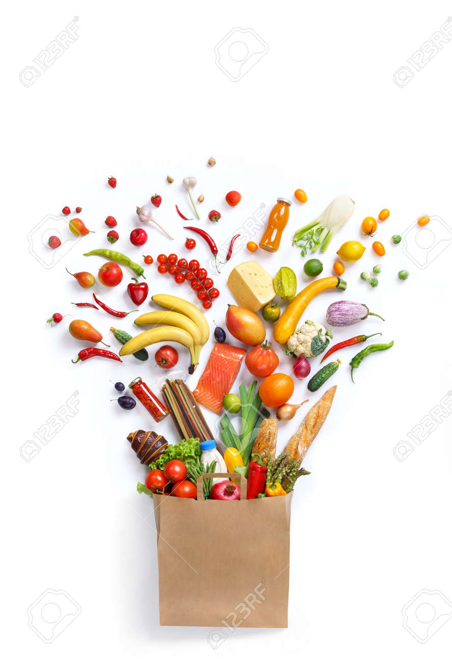 Healthy eating background, studio photography of different fruits and vegetables on white backdrop. Healthy food background, top view. High resolution product, - 52848976