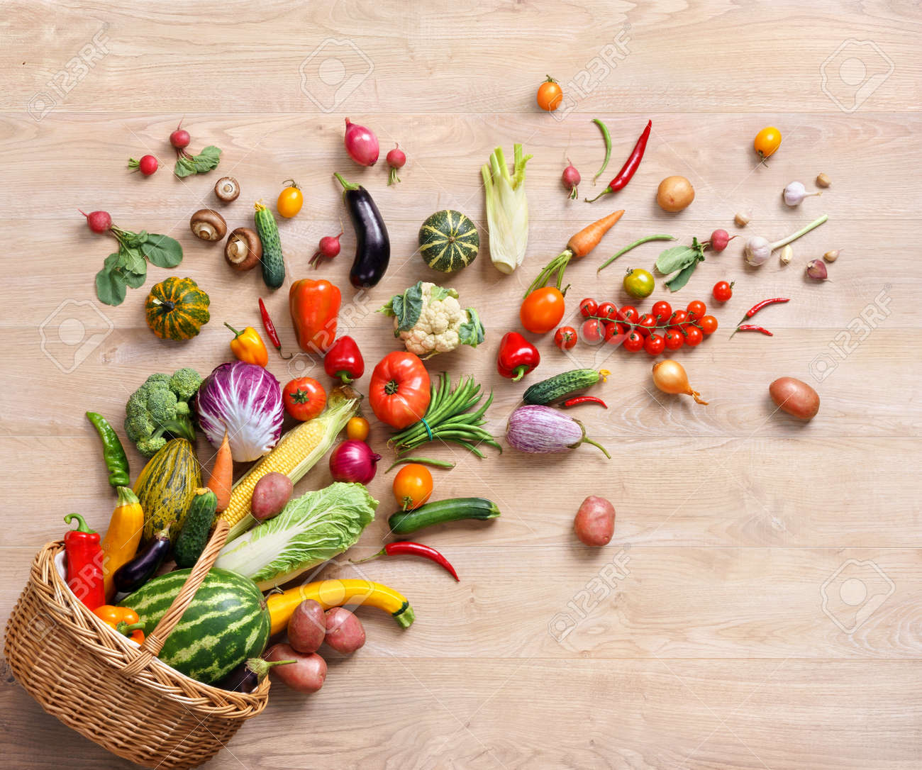 Healthy food background. studio photography of different fruits and vegetables on wooden table - 52849018