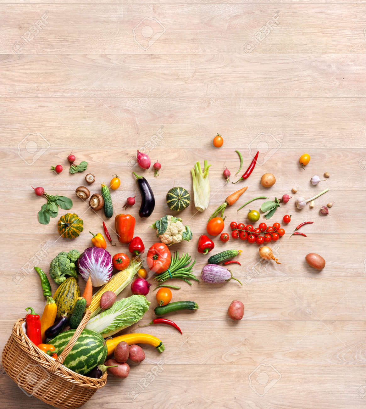 Food background studio photo of different fruits and vegetables - Healthy Food Background Studio Photography Of Different Fruits And Vegetables On Wooden Table Stock Photo