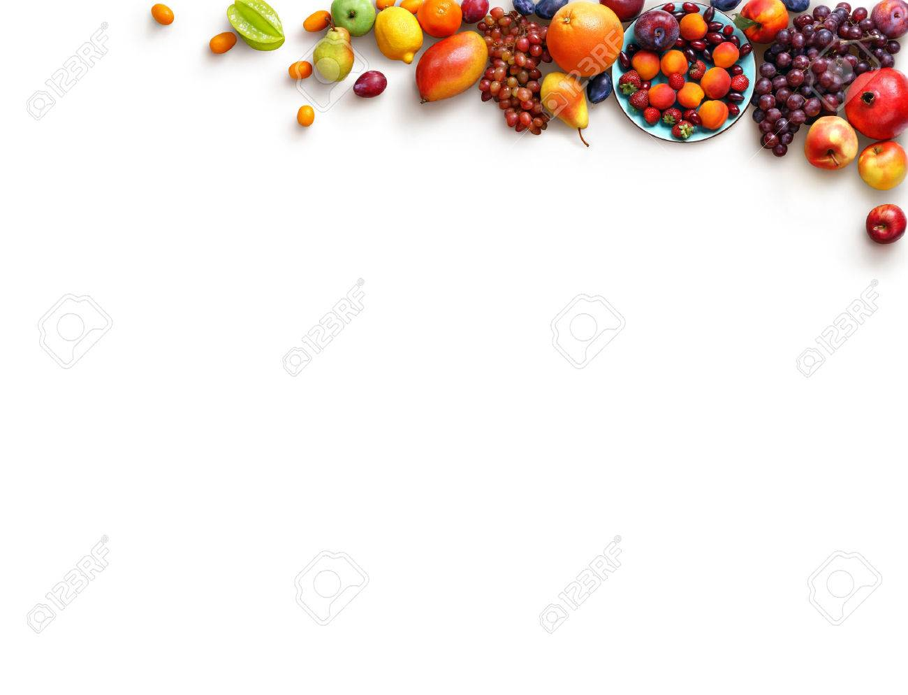 Healthy fruits background. Studio photo of different fruits isolated white background. High resolution product. Copy space - 54088799