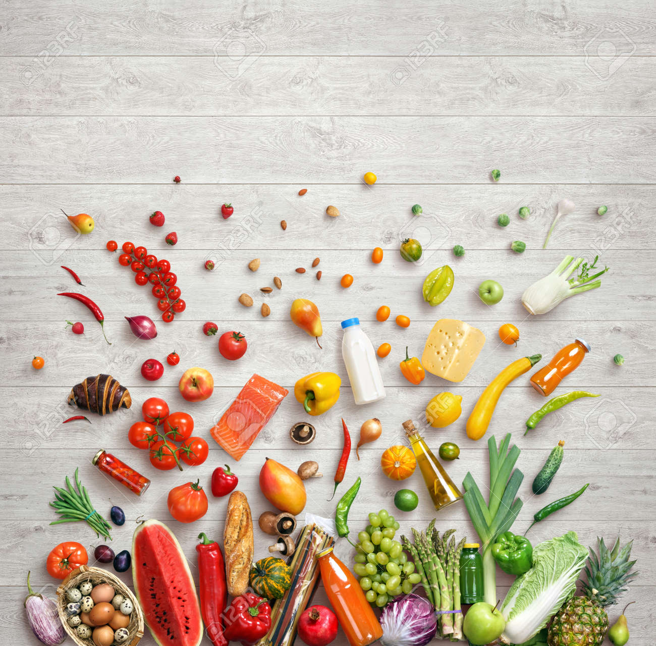 Food background studio photo of different fruits and vegetables - Healthy Food Background Studio Photography Of Different Fruits And Vegetables On White Wooden Background