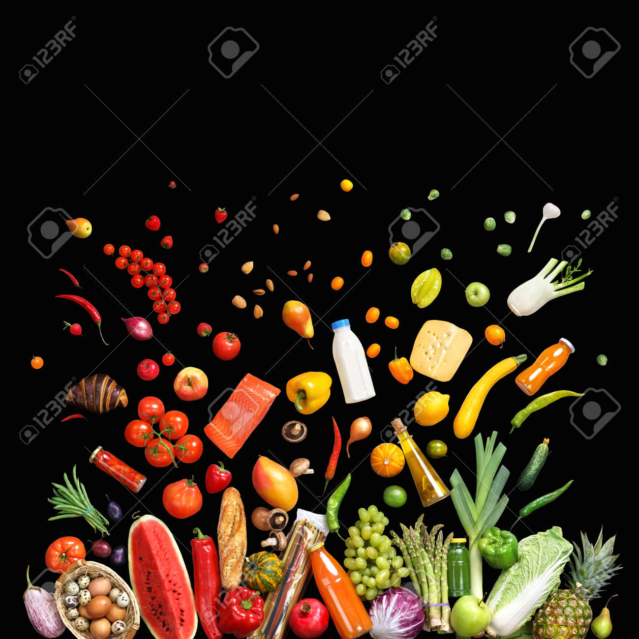 Food background studio photo of different fruits and vegetables - Deluxe Food Background Studio Photo Of Different Fruits And Vegetables Isolated On Black Background