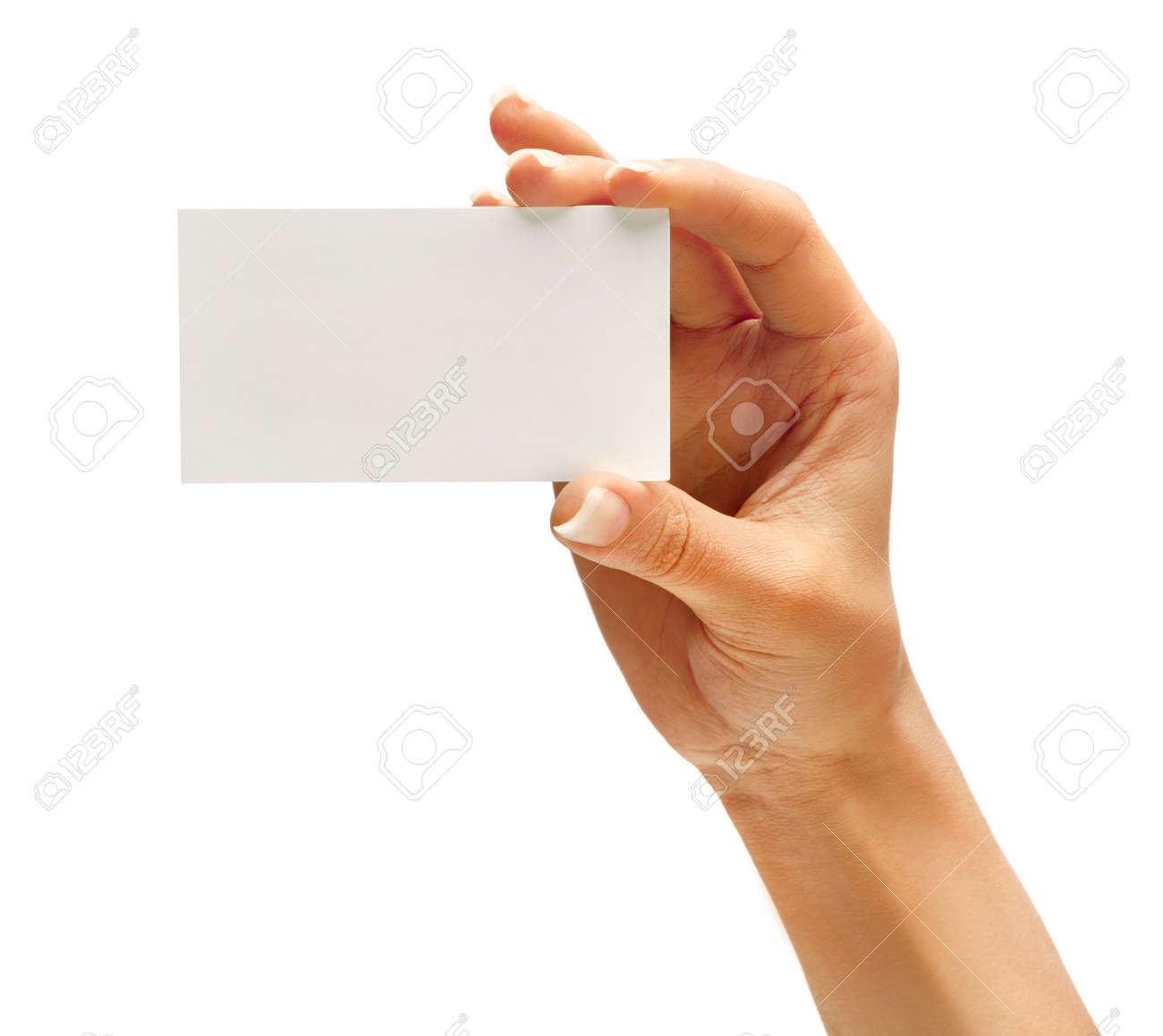 Woman\'s Hand Holding Business Card Isolated On White Background ...