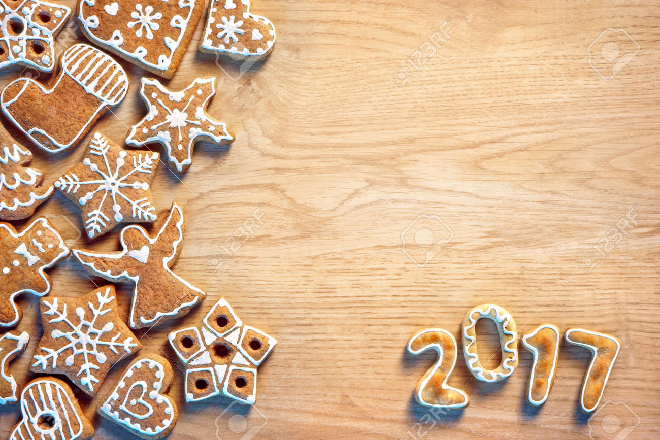 Christmas Cookie On Wooden Background Top View Merry Christmas