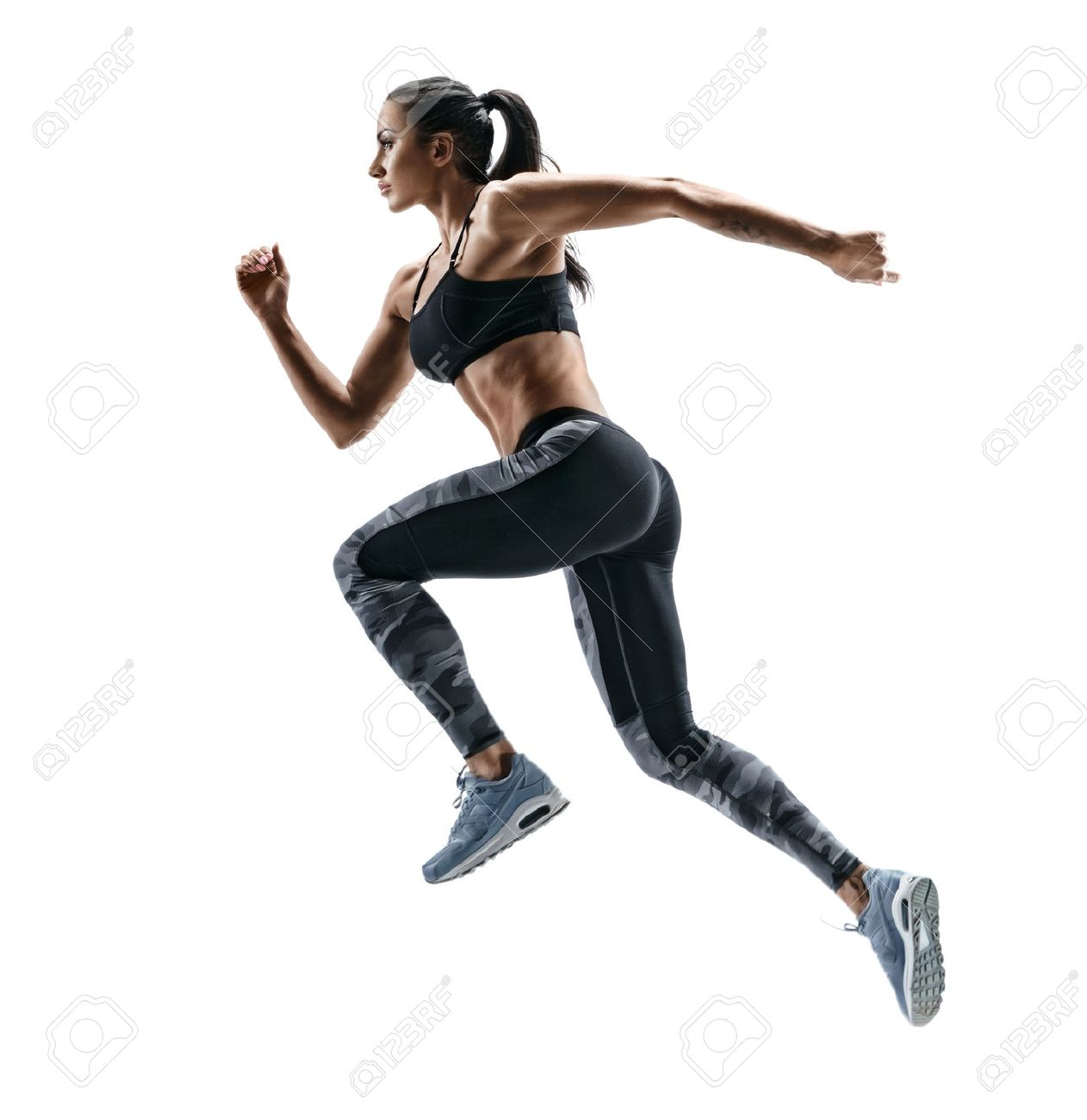 Woman runner in silhouette on white background. Dynamic movement. Side view - 78508066