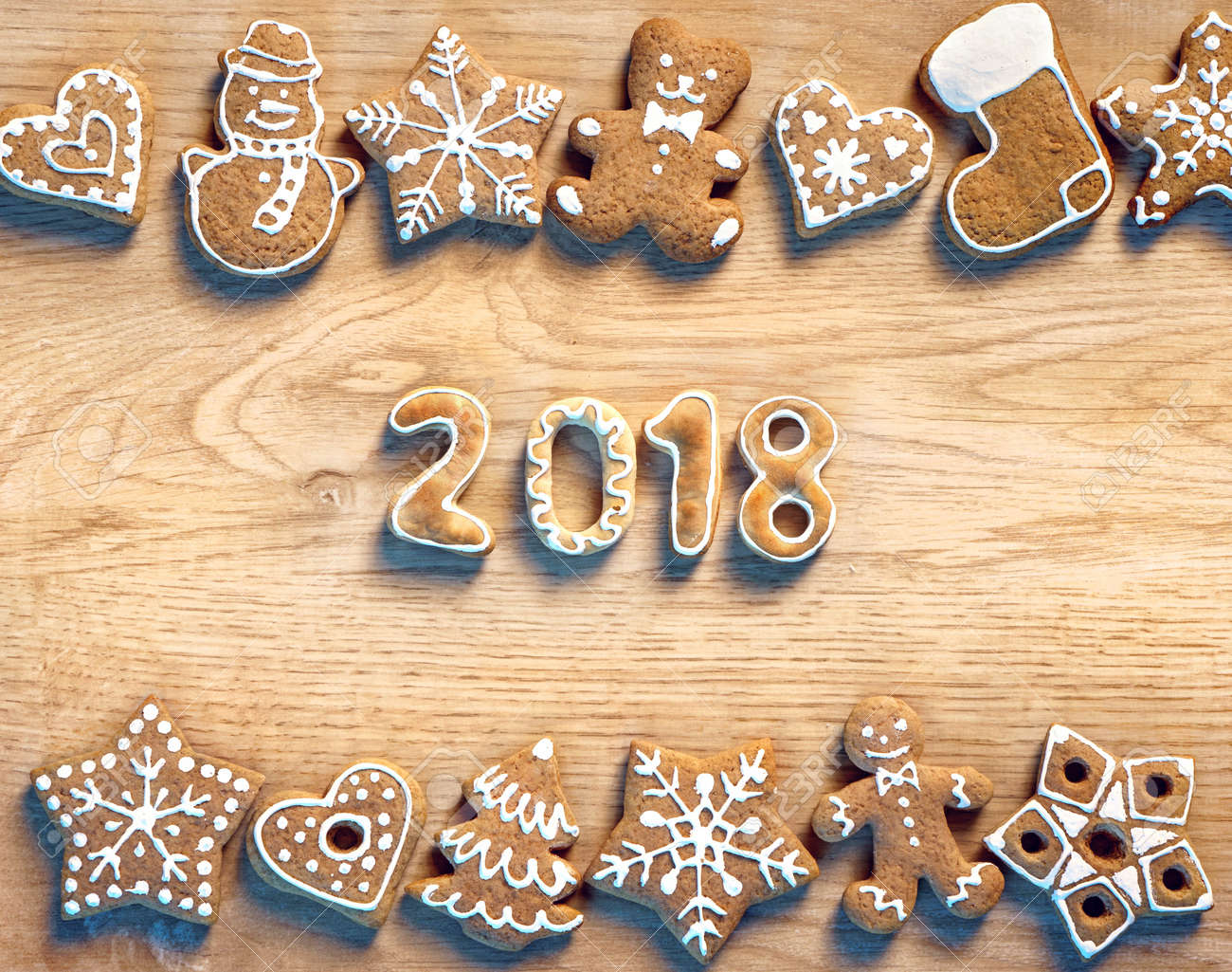 Christmas Cookies On Wooden Background 2018 Merry Christmas