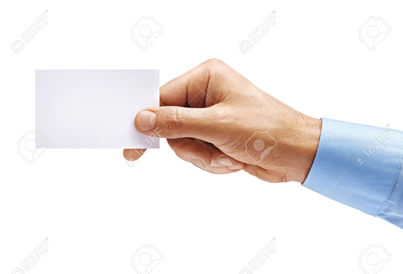 Man's hand in shirt holding empty business card isolated on white background. Close up. High resolution product - 109824791
