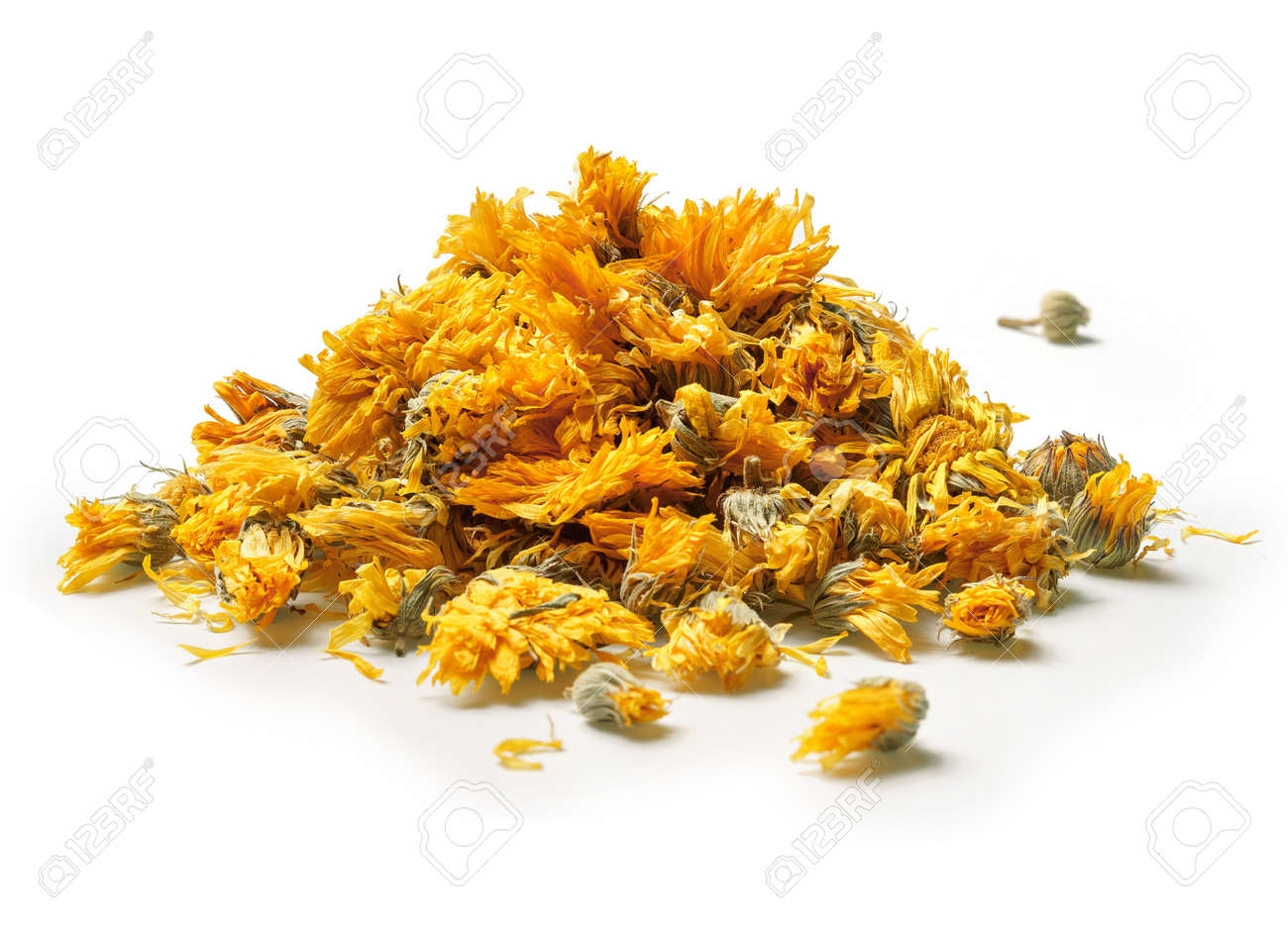Heap of medicinal flowers of a calendula on white background. Herbal tea. Close up. High resolution - 119138399