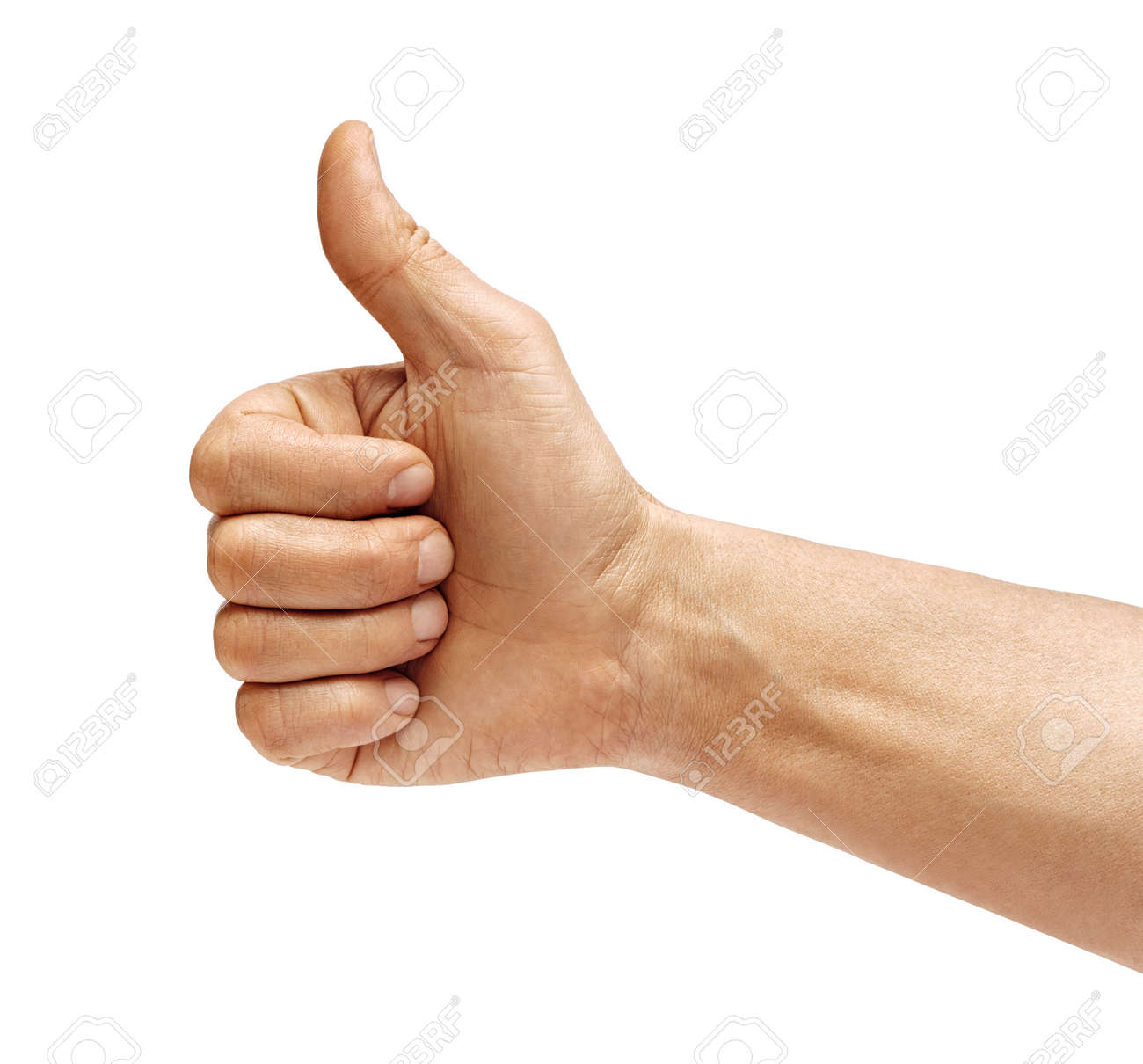 Man's hand showing thumb up - like sign, isolated on white background. Close up. Positive concept. High resolution product. - 123395964