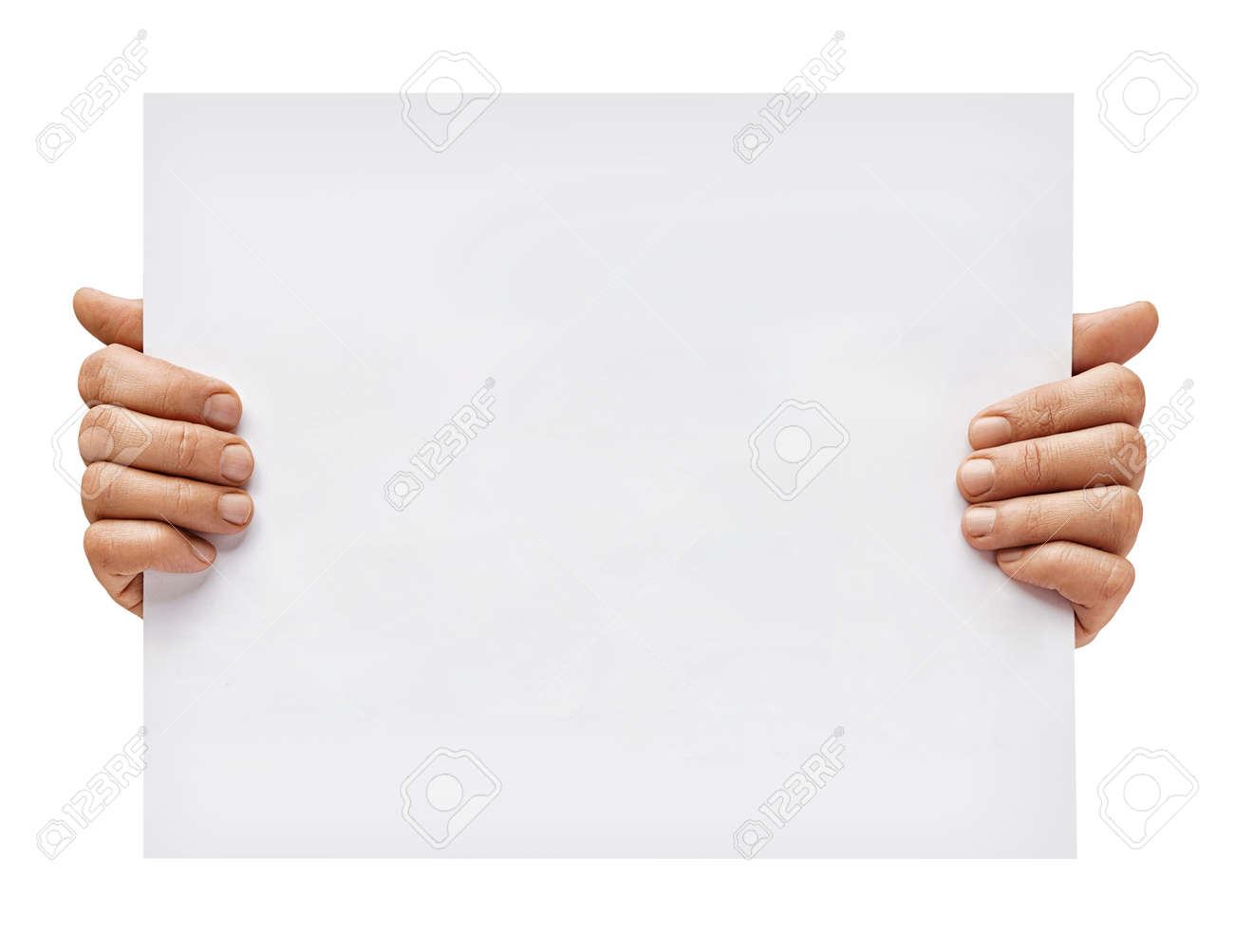 Copy space for your text. Man's hands holding empty board isolated on white background. Close up. High resolution - 123395694