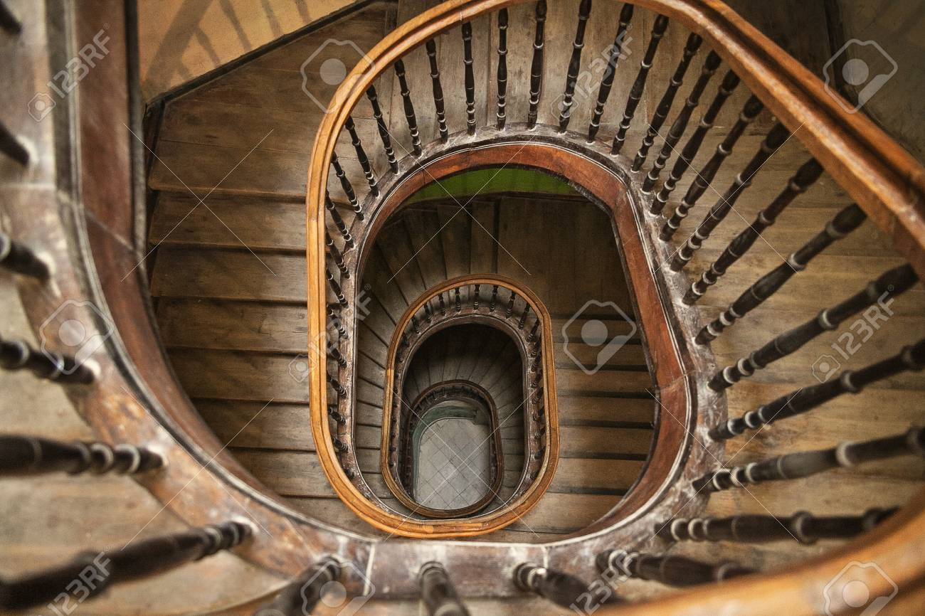 Vintage Circular Staircase A Wooden Staircase View From Above Stock