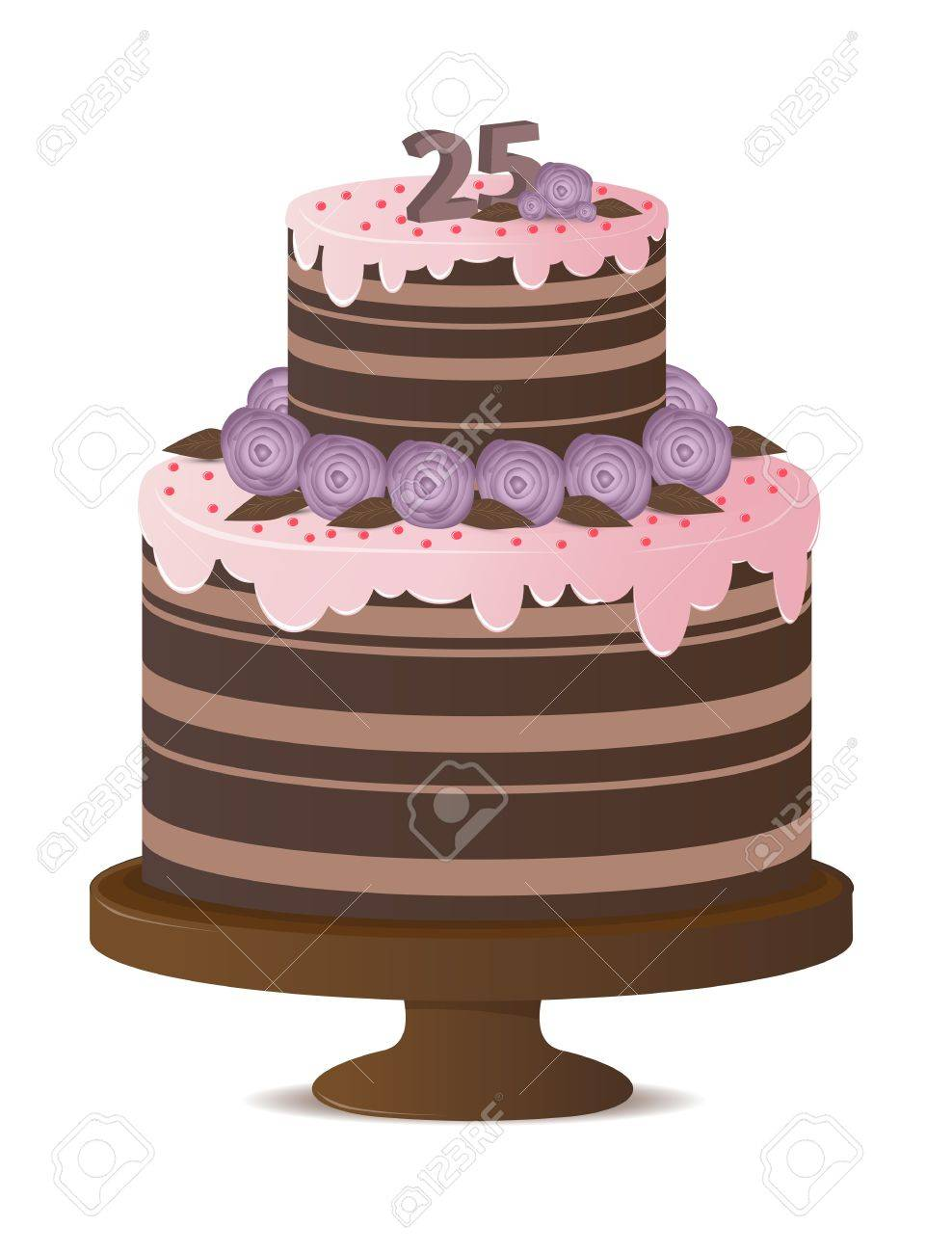 Birthday Cake With Numbers 25 Royalty Free Cliparts Vectors And