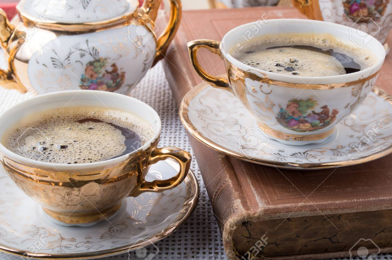Antique porcelain coffee cups with hot espresso and tableware from the 19th century German Bavaria Stock & Antique Porcelain Coffee Cups With Hot Espresso And Tableware ...