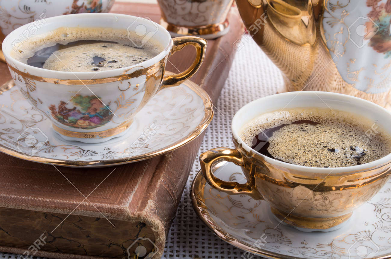 And Coffee Antique Espresso Porcelain With Cups Tableware Hot m0vN8nOw