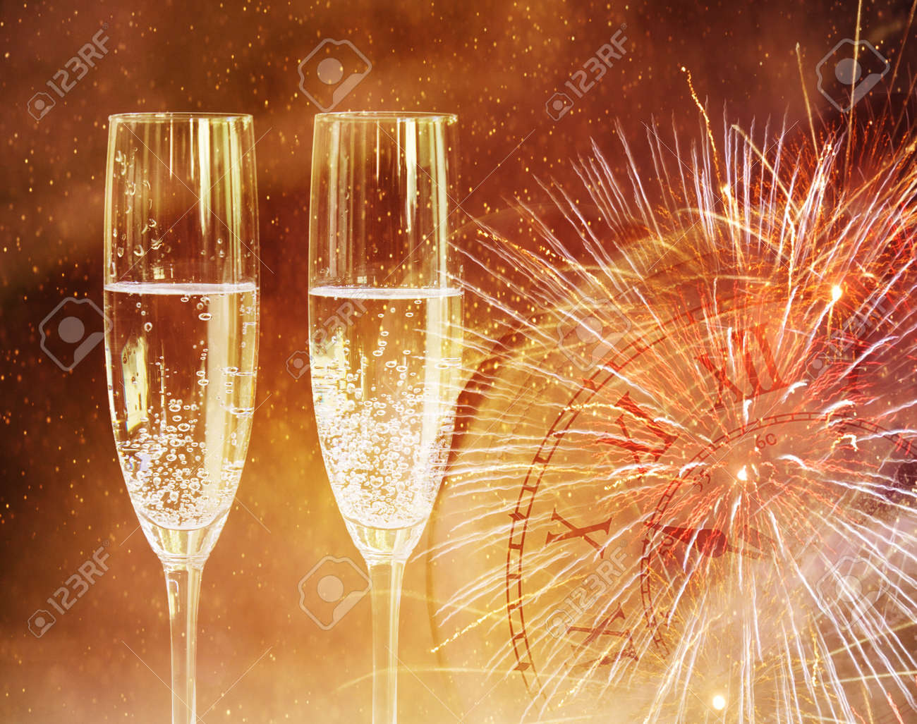 champagne glasses happy new year background stock photo 91392771