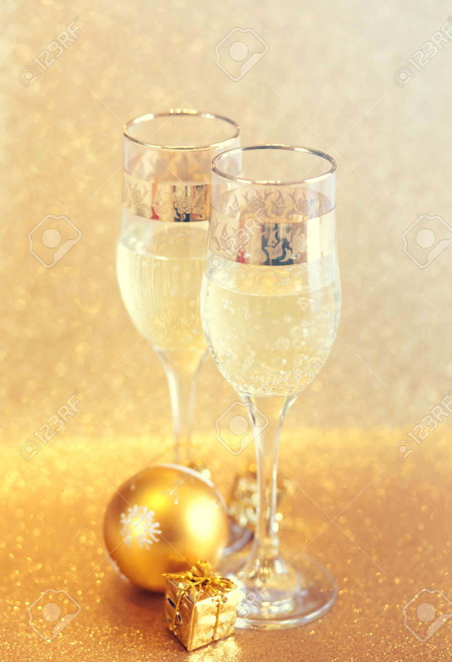 new year golden champagne glasses background stock photo 92574802