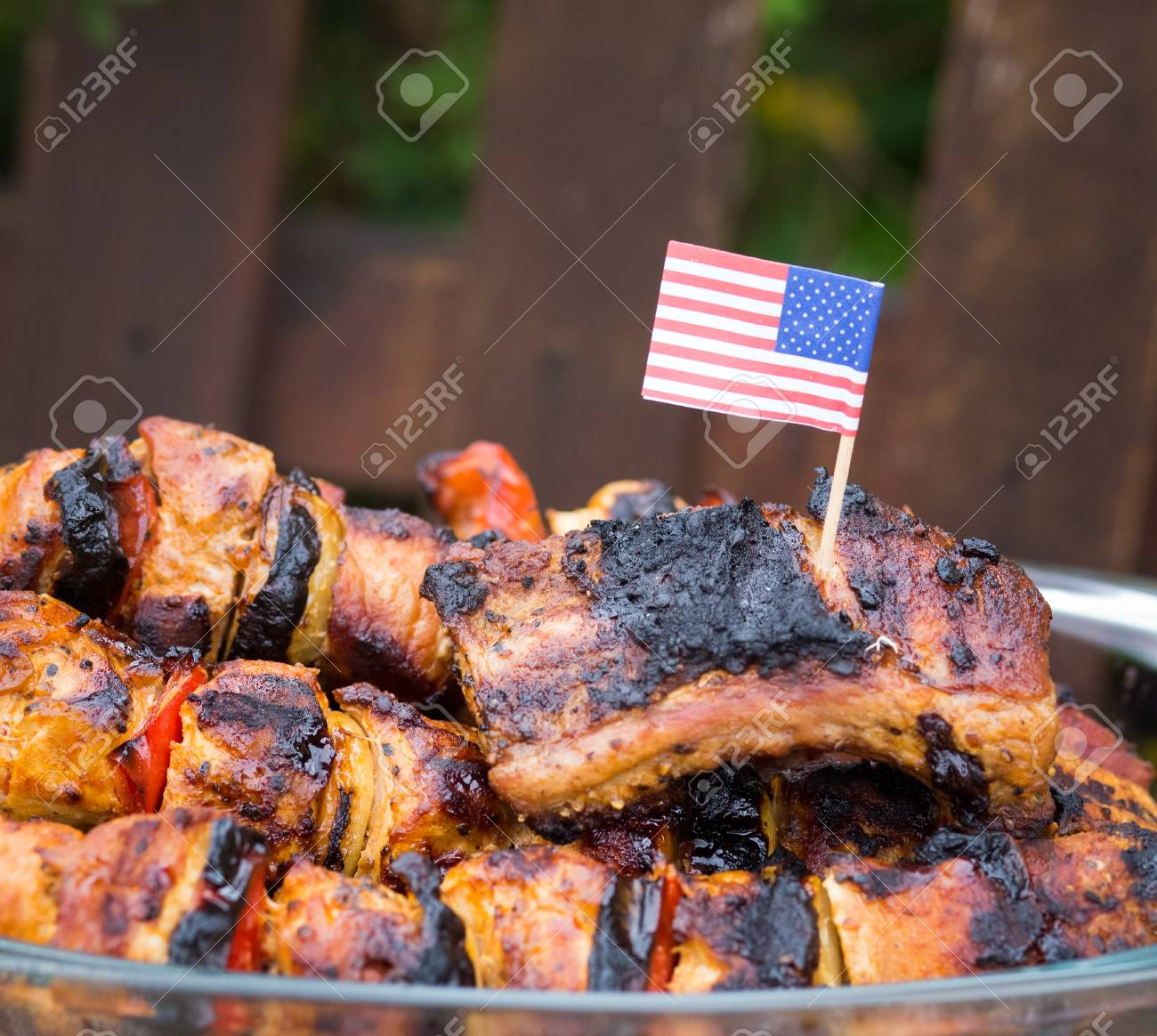 4th Of July Barbecue Meat Skewers Stock Photo, Picture And Royalty ...