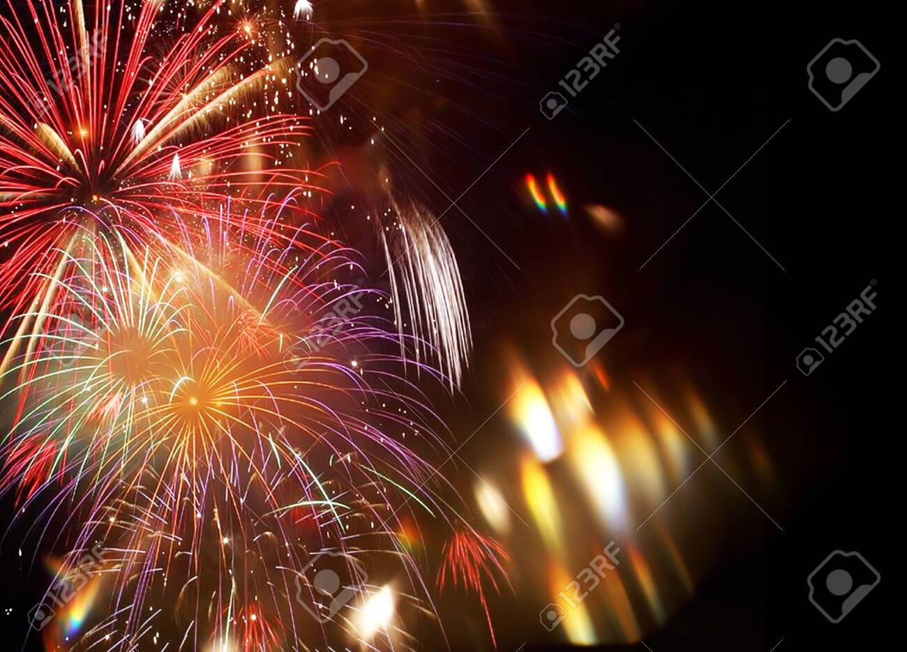 New Year abstract fireworks background - 136448952