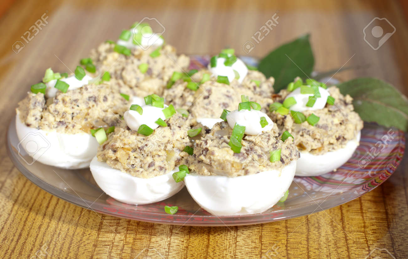 Stuffed eggs with green onions on a plate Stock Photo - 14061467